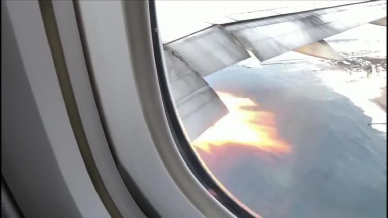 Adam Taylor was recording his daughter's reaction to his plane taking off when he noticed flames bursting from an engine.