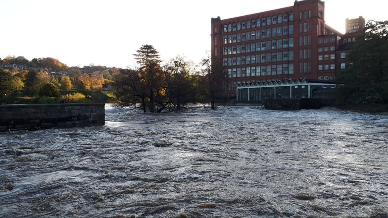 Flooding in Belper, Derbyshire, after the River Derwent burst its banks