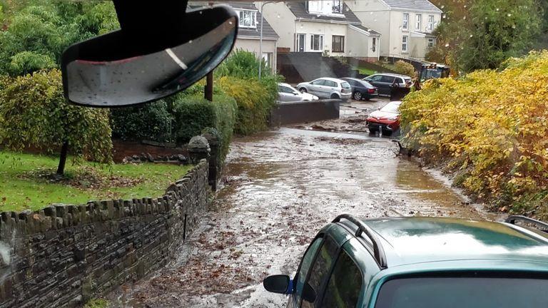 Severe flooding in Pontardawe, Wales. Pic: @AmmanfordFire