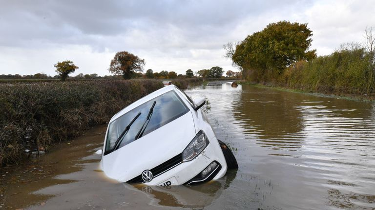 Flood water submerges a car in the Fishlake area in the North East earlier this month