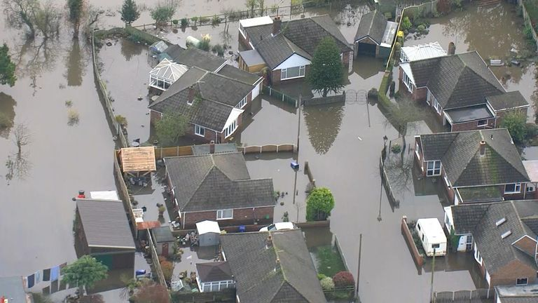 Aerials of flooded homes as PM visits Lincolnshire
