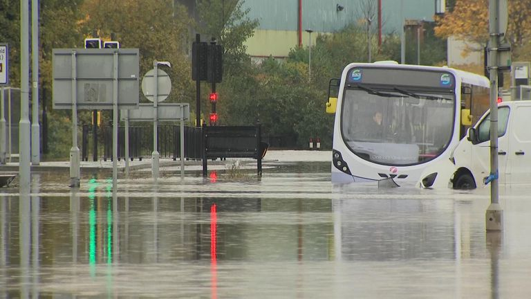 Firefighters rescued people by boat who were stranded in a bus in Rotherham.