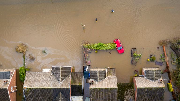 Flood water covers the roads and part of local houses in the Fishlake area on November 12, 2019 in Doncaster, England