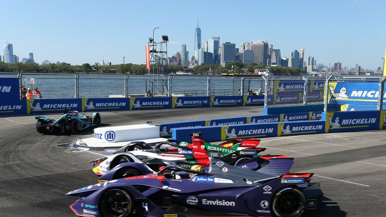 The Envision Virgin Racing Team driver Robin Frijns competes during the New York E-Prix of Formula E Season 5 on July 13, 2019 in New York, USA