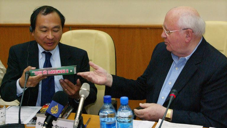 Francis Fukuyama with former Soviet Union President Mikhail Gorbachev during a conference in Moscow in 2007
