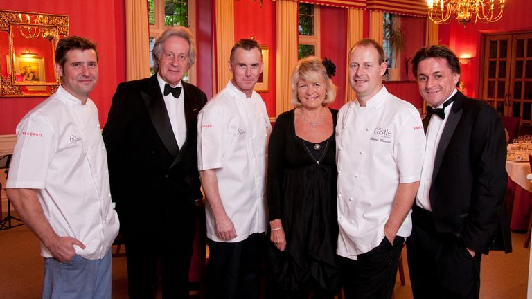 Richard Guest, Kit Chapman, Gary Rhodes, Louise Chapman, Dominic Chapman, Nicholas Chapman at the 60th anniversary of the Chapman family owning the Castle Hotel. Pic: Kit Chapman/The Castle Hotel