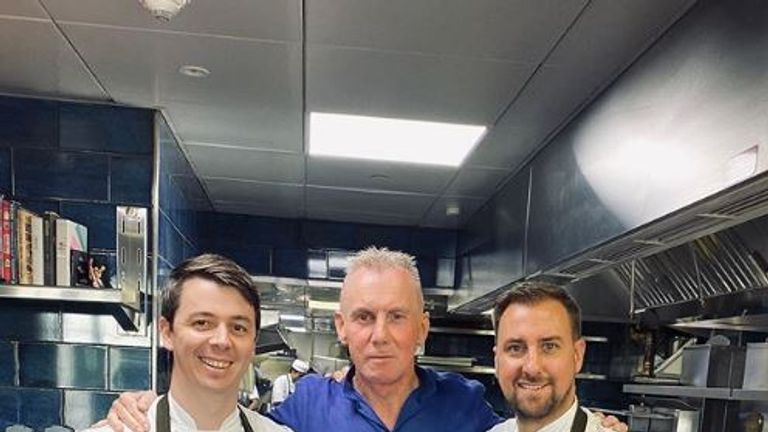 Gary Rhodes pictured with Scott Price (L) and Nick Avis (R) at their restaurant in Dubai. Pic: Instagram/@nickandscott