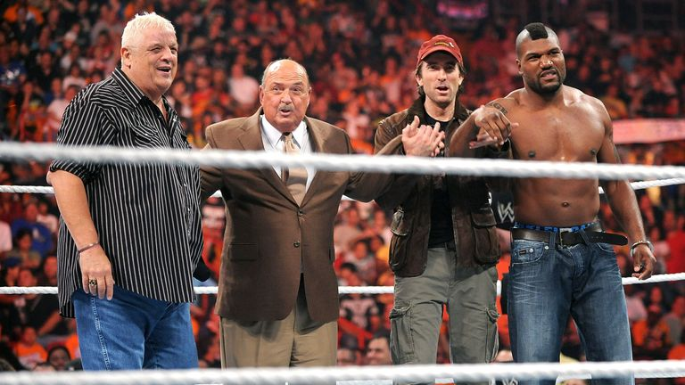 Dusty Rhodes, Gene Okerlund, Sharlto Copley and Quinton 'Rampage' Jackson attend WWE Monday Night Raw at AmericanAirlines Arena on June 7, 2010 in Miami, Florida
