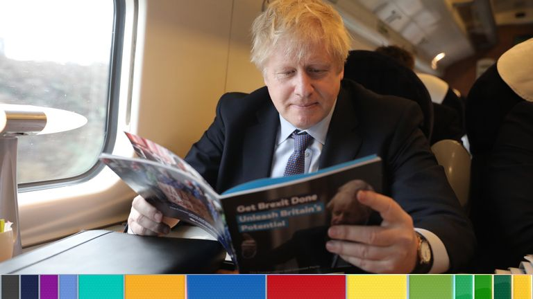 Boris Johnson travels on a train to Telford ahead of launching the Conservative Party election manifesto