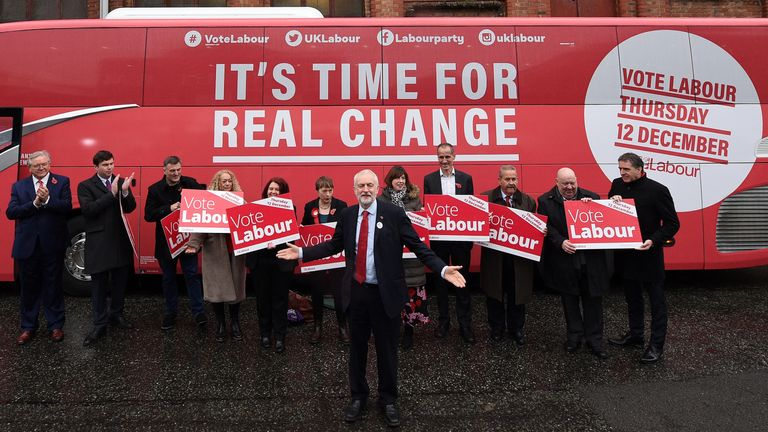 Jeremy Corbyn poses for photographs as he unveils the party's general election campaign 'Battle Bus' in Liverpool