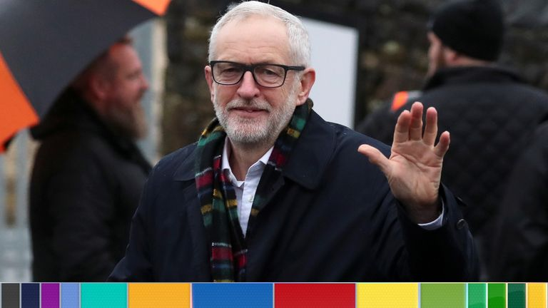 Jeremy Corbyn gestures outside Amazon's depot in Sheffield
