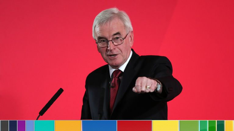 Shadow chancellor John McDonnell delivers a speech on the economy in Westminster