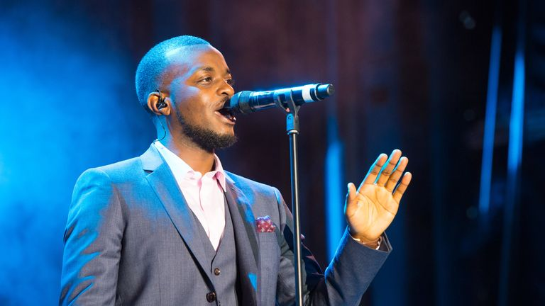 LONDON, ENGLAND - JUNE 28: George Mpanga aka George the Poet performs on stage during the Sentebale Concert at Kensington Palace on June 28, 2016 in London, England. Sentebale was founded by Prince Harry and Prince Seeiso of Lesotho over ten years ago. It helps the vulnerable and HIV positive children of Lesotho and Botswana. (Photo by Dominic Lipinski - WPA Pool/Getty Images)