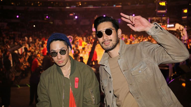 Godfrey Gao (r) with Hong Kong rapper and actor Edison Chen in 2018 at the NBA All-Star Weekend in Los Angeles