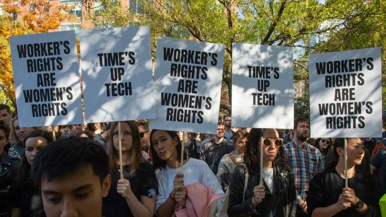 Google employees stage a walkout on November 1, 2018, in New York, over sexual harassment. - A Google Walkout For Real Change account that sprang up on Twitter on October 31 called for employees and contractors to leave their workplaces at 11:10am local time around the world on Thursday. Tension has been growing over how the US-based tech giant handles sexual harassment claims. (Photo by Bryan R. Smith / AFP) (Photo credit should read BRYAN R. SMITH/AFP via Getty Images)