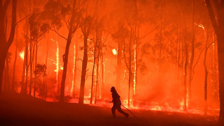 NSW Fire and Rescue officer protects the Colo Heights Public School from being impacted by the Gospers Mountain fire near Colo Heights south west of Sydney, Australia, November 19, 2019