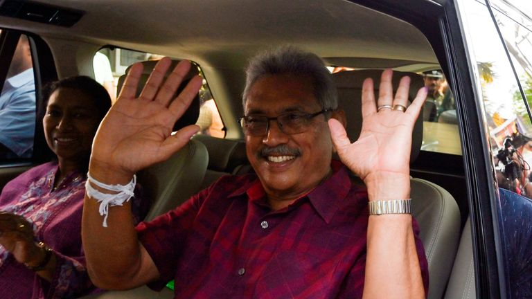 Presidential candidate Gotabaya Rajapaksa leaves a polling station after casting his vote