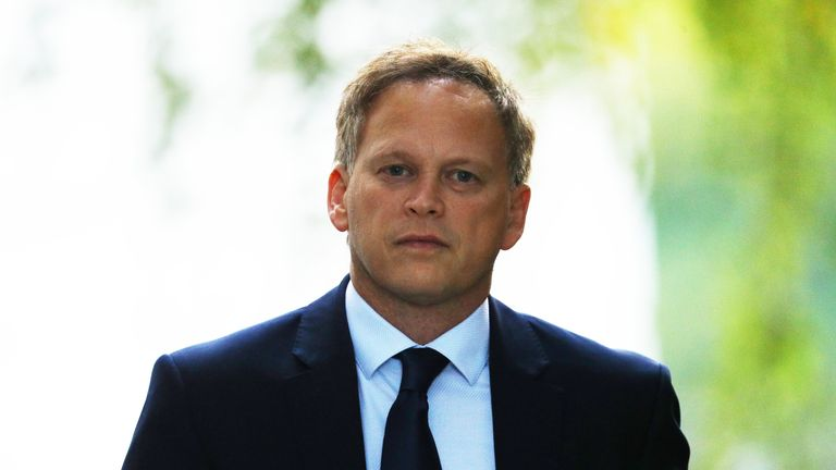Transport Secretary Grant Shapps in Downing Street, London