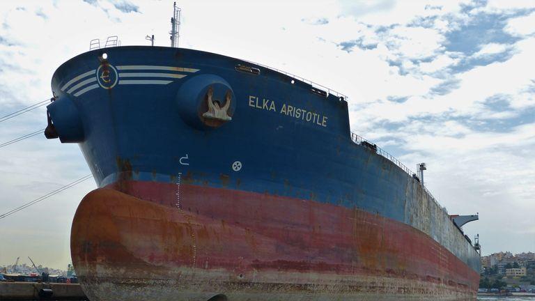The Elka Aristotle was attacked around 3am on Monday. Pic: Orfeas Tsatsos