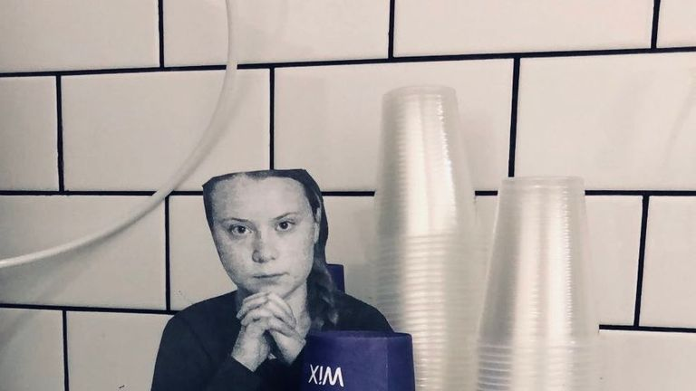 Pictures of Greta are being used to prevent workers using plastic in the office. Pic: Yatir Kaaren via @Wix