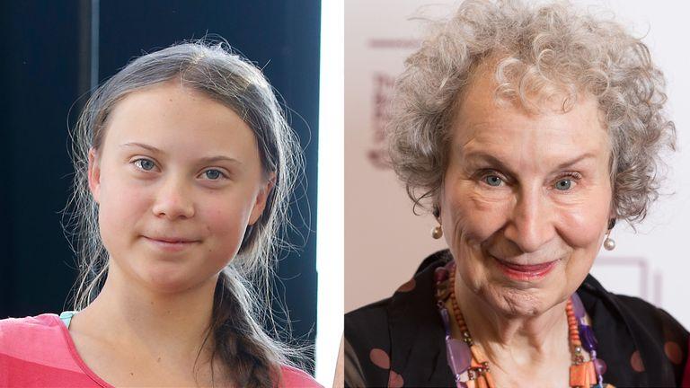Margaret Atood (right) has praised Greta Thunberg