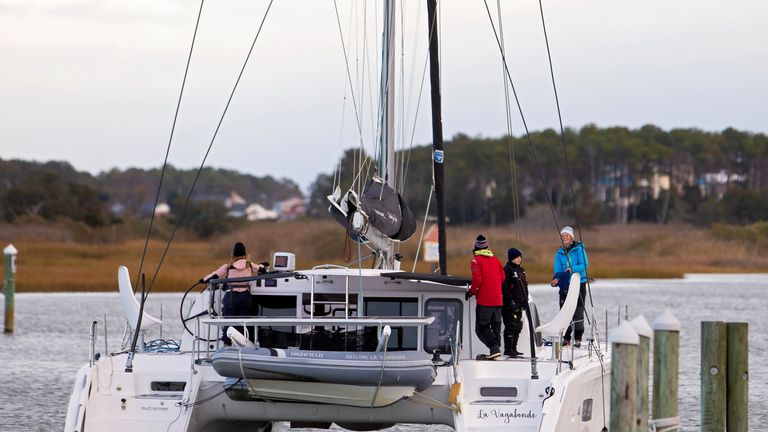 Climate change activist Greta Thunberg aboard the yacht La Vagabonde to attend U.N. climate talks in Spain, from a marina in Hampton, Virginia