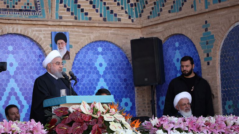 President Hassan Rouhani announces the discovery of the oil field