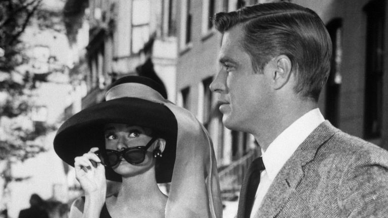 Audrey Hepburn and George Peppard in a scene from the movie: Breakfast at Tiffany's 1961.