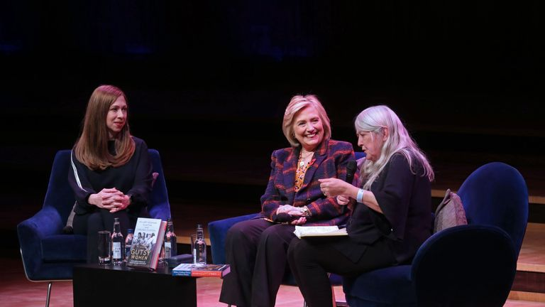 Chelsea Clinton (L) and Hillary Clinton discuss The Book of Gutsy Women with British historian Mary Beard