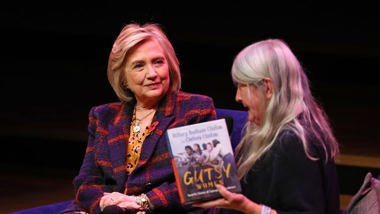 Hillary Clinton (left) talking to Mary Beard at the Southbank Centre in London at the launch of Gutsy Women: Favourite Stories of Courage and Resilience a book by Chelsea Clinton and Hillary Clinton about women who have inspired them