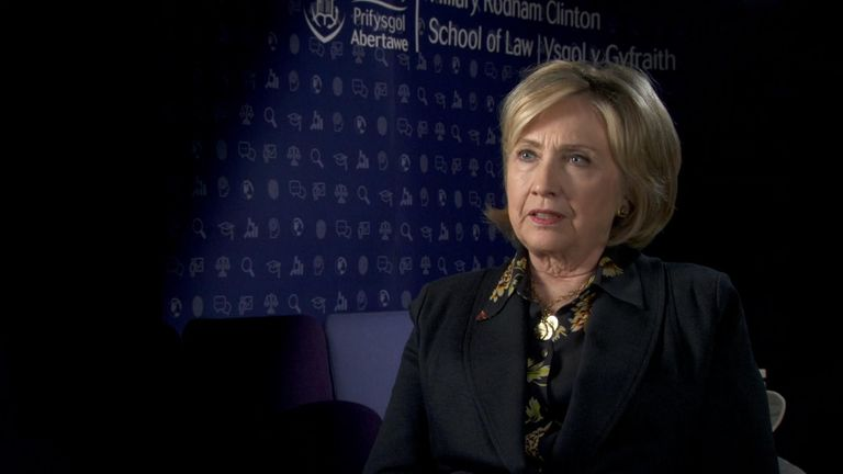 Hillary Clinton talking to Sky News.