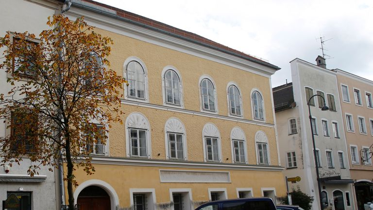 The house in which Adolf Hitler was born is seen in Braunau am Inn, Austria