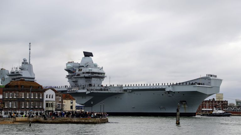 HMS Prince of Wales arrived into Portsmouth on Saturday. Pic: BAE Sytems