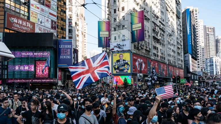 Protesters marched on the streets in Causeway Bay, Hong Kong on Saturday