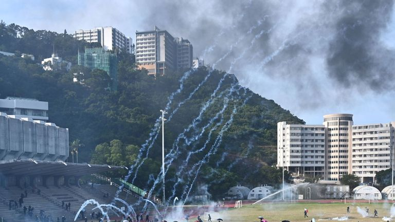 Tear gas was fired by police during an ongoing day-long battle at the Chinese University of Hong Kong