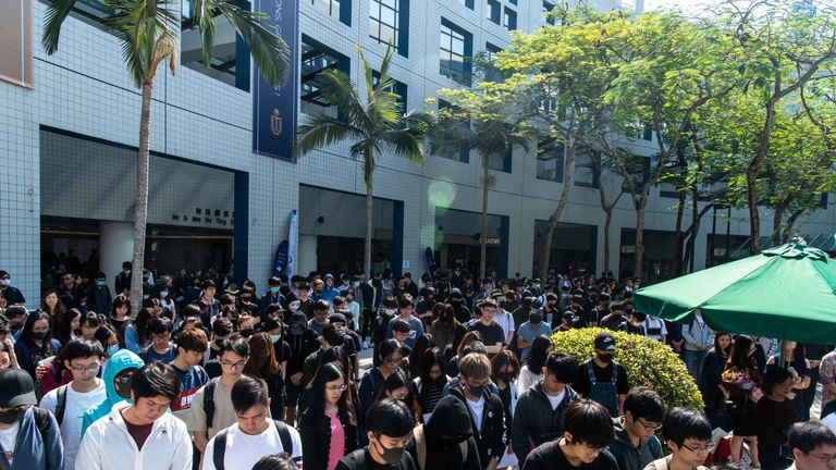 Students paid tribute to Chow Tsz-lok after he died on Friday