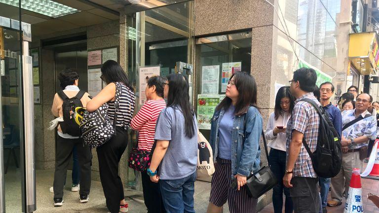 Queues at a Hong Kong polling station