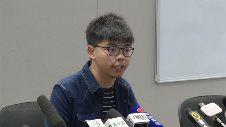 "Pro-democracy activist Joshua Wong says a US law backing the protests in Hong Kong was a sign for other countries to ""stand with Hong Kong""."