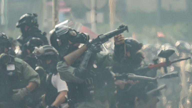 The US has banned the export of crowd control munitions to the Hong Kong police