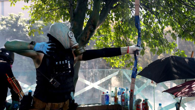 Students have been using bows and arrows to defend the university