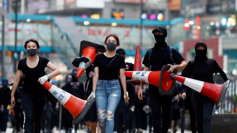 Protesters in Causeway Bay, Hong Kong