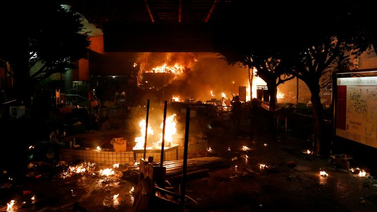 The entrance to Hong Kong Polytechnic University (PolyU) was set on fire to stop police by anti-government protester in Hong Kong, China, November 18, 2019