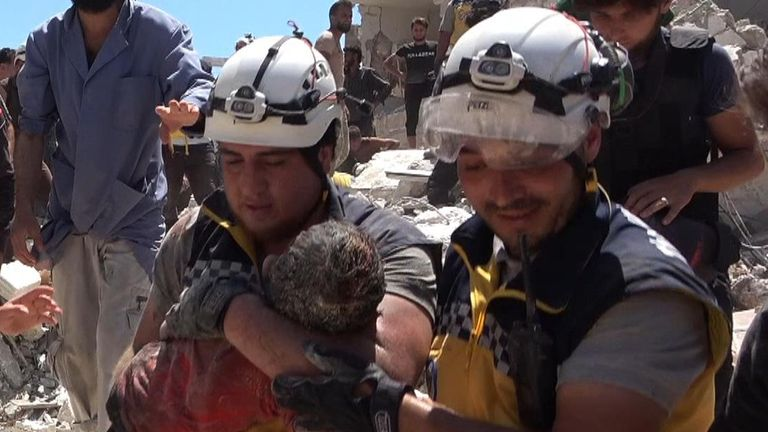 White Helmet rescuers thought Ahmed had died in the building collapse