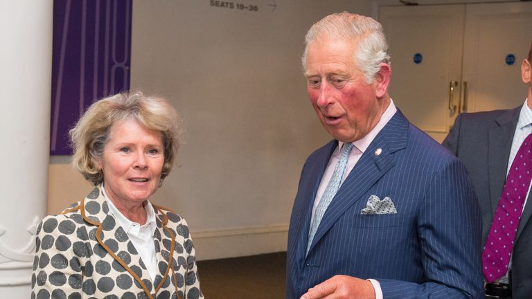 Imelda Staunton with the Prince of Wales at the Old Vic Theatre in 2018