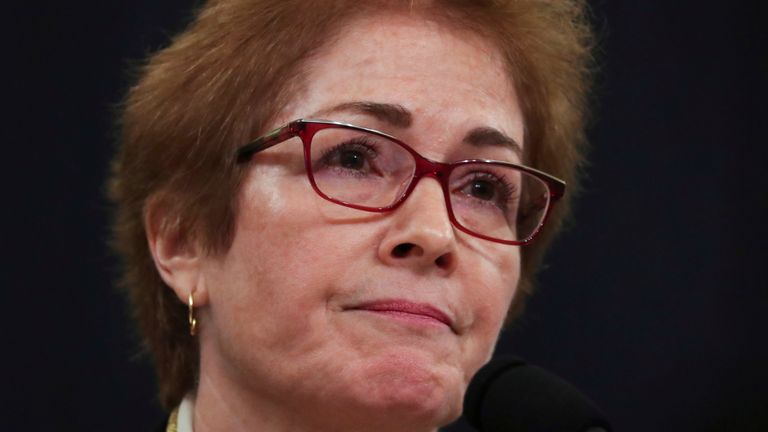 Marie Yovanovitch, former U.S. ambassador to Ukraine, testifies before a House Intelligence Committee hearing as part of the impeachment inquiry into U.S. President Donald Trump