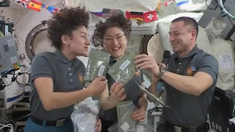 NASA astronauts on board the International Space Station wished a happy Thanksgiving and explained how they will be spending the holiday in space.