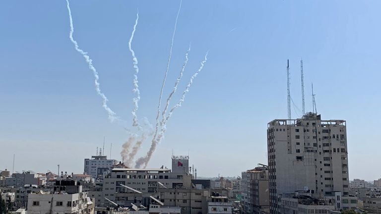 Rockets are fired from Gaza towards Israel