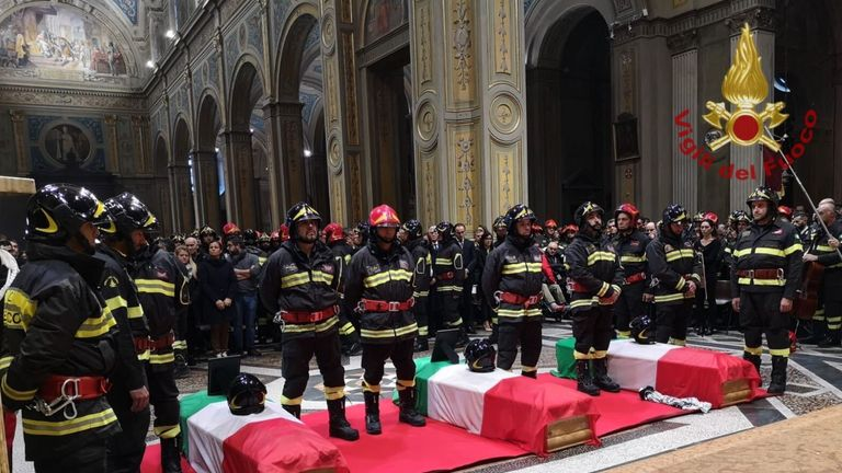 Firefighters pay tribute to their colleagues, Matteo, Marco and Antonino at their funerals. Pic: Vigili del Fuoco