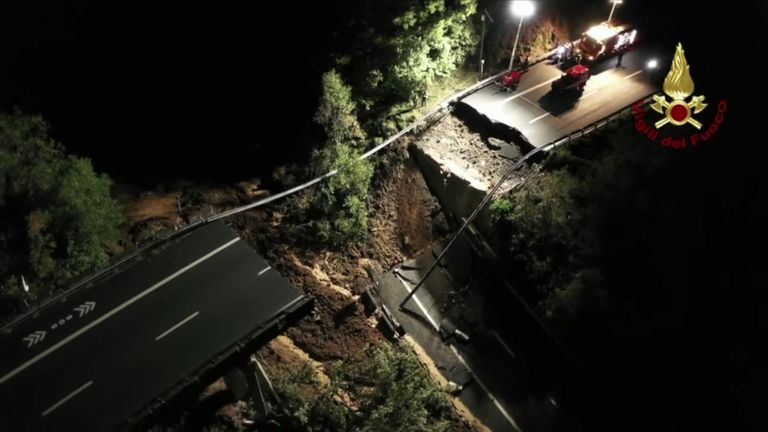 Footage from the Italian fire service shows the collapsed viaduct which was caused by a landslide from the village of Madonna del Monte.