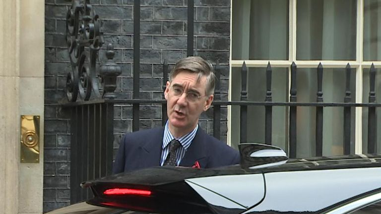 Jacob Rees-Mogg outside number 10 Downing Street